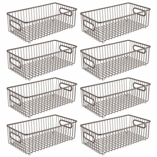 mDesign Metal Kitchen Pantry Food Storage Basket Bin, 8 Pack Perspective: front