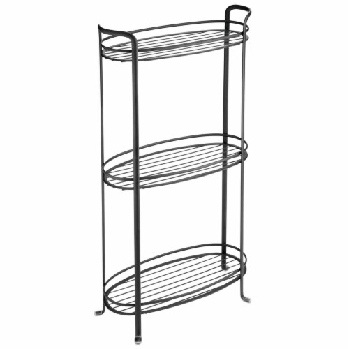 mDesign Vertical Standing Bathroom Shelving Unit Tower with 3 Baskets, Black Perspective: front