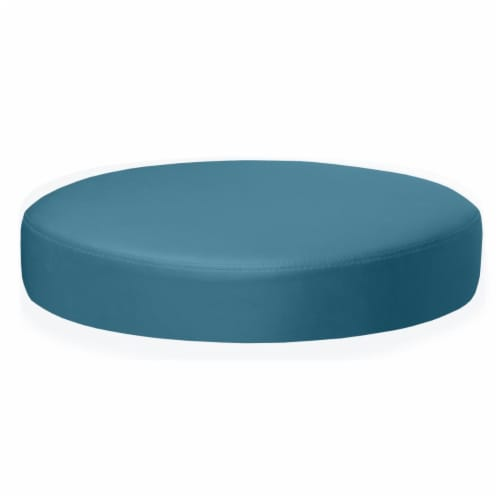 Regency N2323PT Eric Low Round Ottoman, Peacock Teal Perspective: front