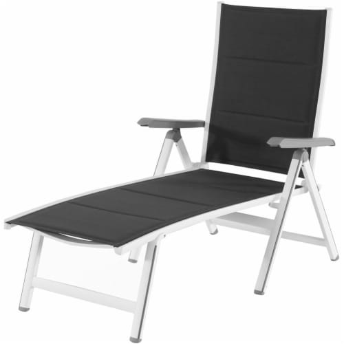 Aluminum Sling Folding Chaise Lounge - White/Gray Perspective: front
