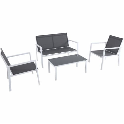 4PC Seating Set: Sling Loveseat, 2 Sling Side Chairs, Coffee Table - White/Gray Perspective: front