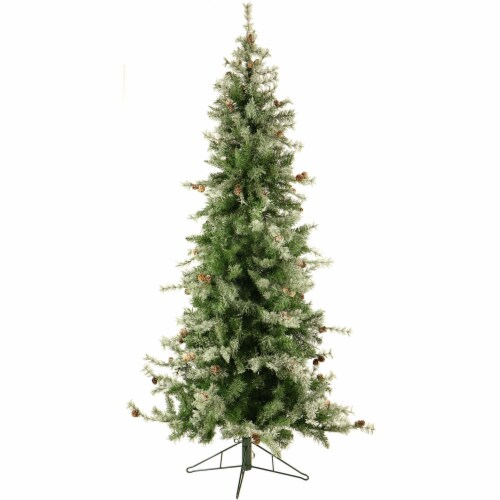 Fraser Hill Farm Slim Artificial Christmas Tree with Smart String Lighting Perspective: front