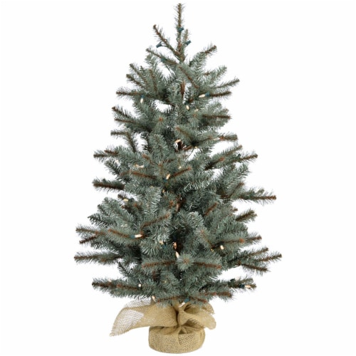 Fraser Hill Farm Artificial Tree with Burlap Base & LED String Lights Perspective: front