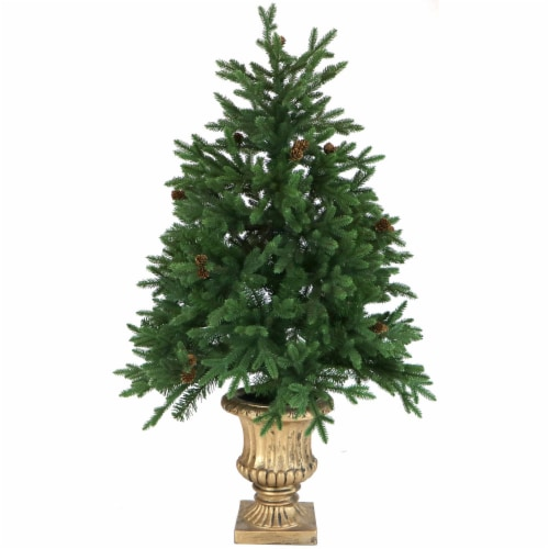 Fraser Hill Farm Artificial Tree with Metallic Urn Base Perspective: front
