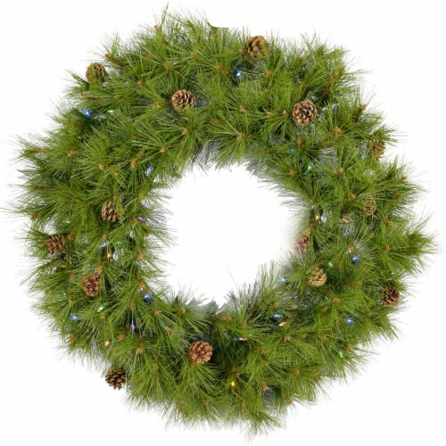 Artificial Holiday Wreath with Lights - 36 in Perspective: front