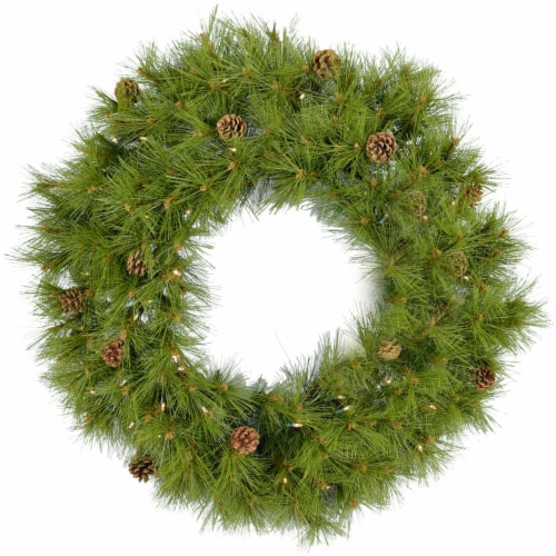 Fraser Hill Farm Eastern Pine Artificial Holiday Wreath with Clear LED Lights Perspective: front