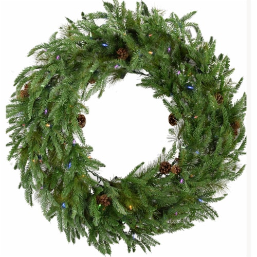 Fraser Hill Farm Artifical Wreath with Multi Color Lights Perspective: front