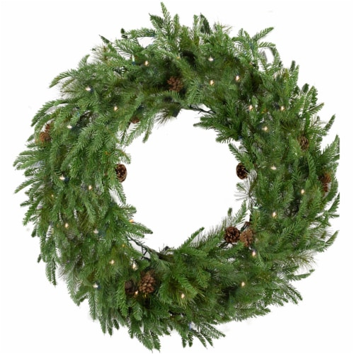 Artificial Holiday Wreath with Lights - 48 in Perspective: front