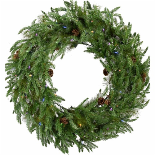 Artificial Holiday Wreath with Multi Color Lights Perspective: front