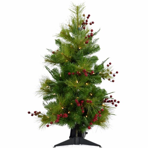 Fraser Hill Farm Artificial Tree with LED String Lights Perspective: front