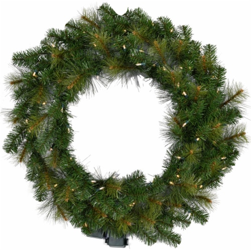 Fraser Hill Farm Southern Peace Artificial Holiday Wreath with Clear LED Lights Perspective: front