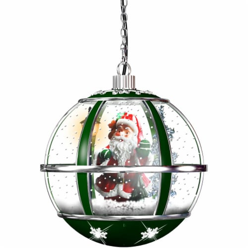 Fraser Hill Farm Hanging Musical Globe - Green Perspective: front