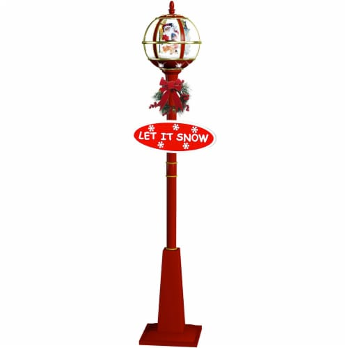 Fraser Hill Farm Snow Globe Lamp Post - Red Perspective: front