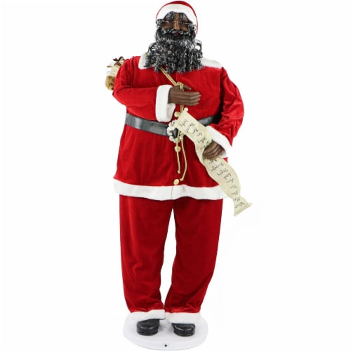 Fraser Hill Farm African American Dancing Santa Doll Perspective: front