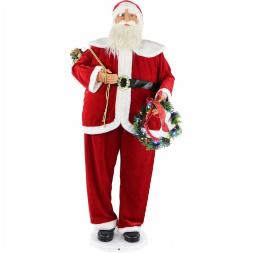 Fraser Hill Farm Dancing Santa Doll with Wreath Perspective: front