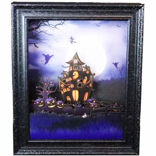 Haunted Hill Farm Haunted House Shadowbox - Black Perspective: front