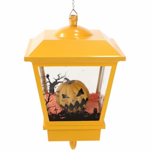 Haunted Hill Farm Hanging Jack-O-Lantern Halloween Lantern - Orange Perspective: front
