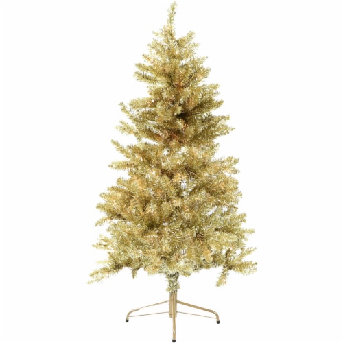 Fraser Hill Farm Festive Tinsel Christmas Tree - Gold Perspective: front