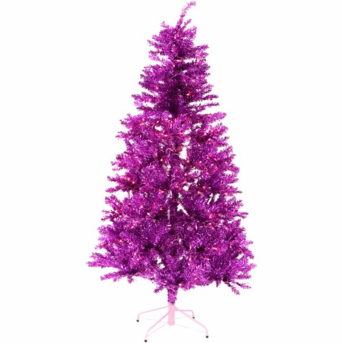 Fraser Hill Farm Festive Tinsel Christmas Tree - Pink Perspective: front
