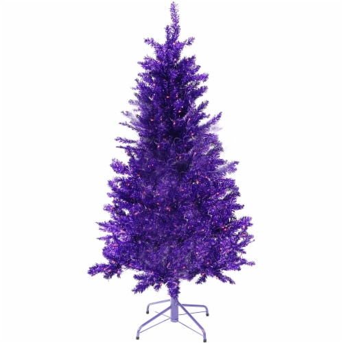 Fraser Hill Farm Festive Tinsel Christmas Tree - Purple Perspective: front