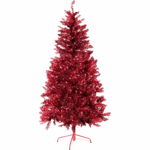 Fraser Hill Farm Tinsel Christmas Tree - Red Perspective: front