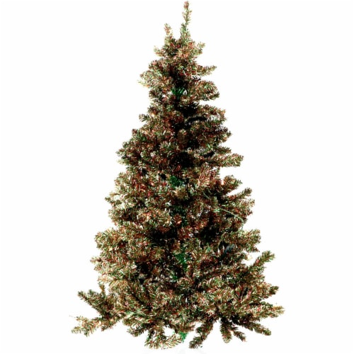 Fraser Hill Farm Festive Tinsel Christmas Tree - Red/Green/Gold Perspective: front
