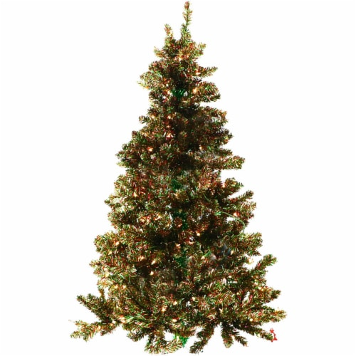 Fraser Hill Farm Christmas Tree with Clear LED Lighting - Red/Green/Gold Perspective: front
