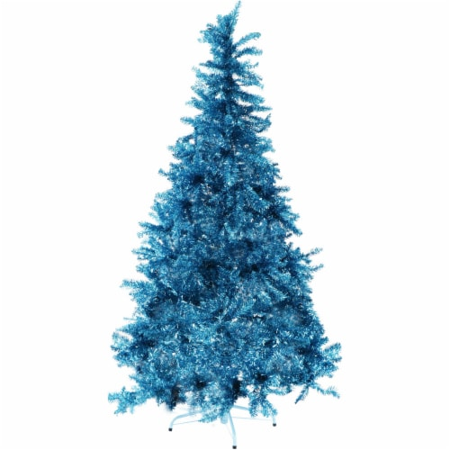 Fraser Hill Farm Tinsel Christmas Tree - Turquoise Perspective: front