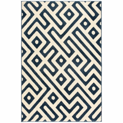 Hanover Indoor/Outdoor Greek Key Rug - Royal Blue/White Perspective: front