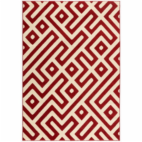 Hanover Indoor/Outdooe Greek Key Rug - Red/Cream Perspective: front