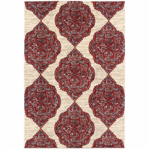 Hanover Ikat Design Indoor/Outdoor Accent Rug - Red/Tan Perspective: front