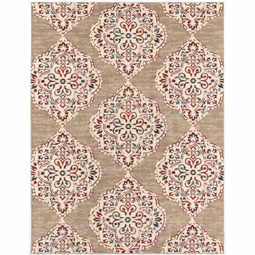 Hanover Indoor/Outdppe Ikat Rug - Tan/Red Perspective: front