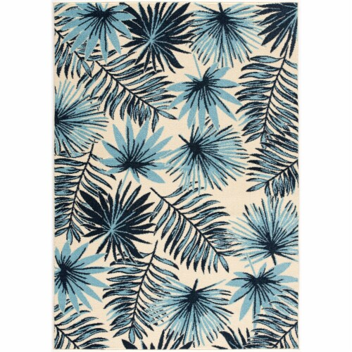 Hanover Tropical Palm Leaf Indoor/Outdoor Accent Rug - Blue/Cream Perspective: front