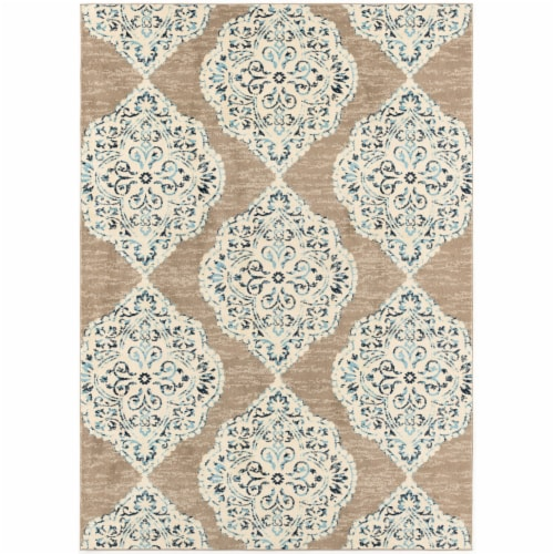 Hanover Indoor/Outdoor Ikat Rug - Tan/Blue Perspective: front