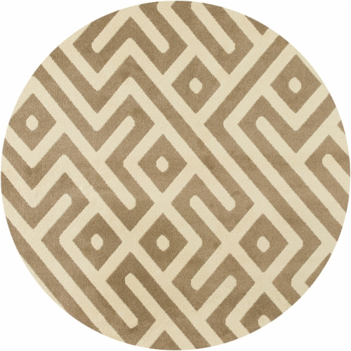 Hanver Indoor/Outdor Round Greek Key Rug - Tan Perspective: front