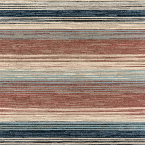 Hanover Square Indoor/Outdoor Striped Backless Rug - Rust/Beige Perspective: front
