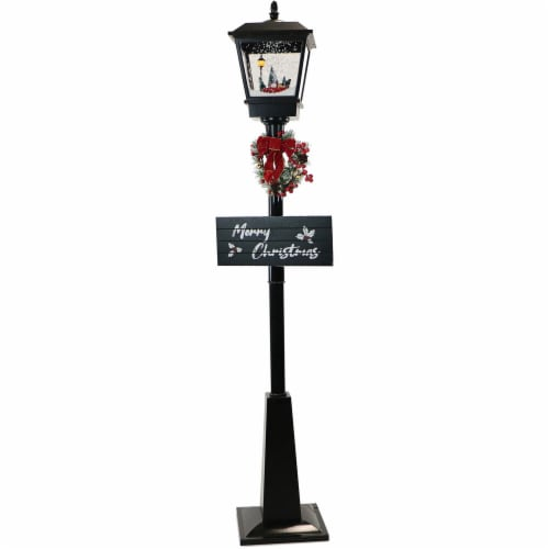 Fraser Hill Farm Musical Street Lamp with Car Scene - Black Perspective: front