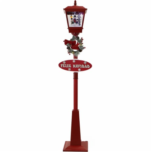 Fraser Hill Farm Snowman Scene Musical Street Lamp - Red Perspective: front