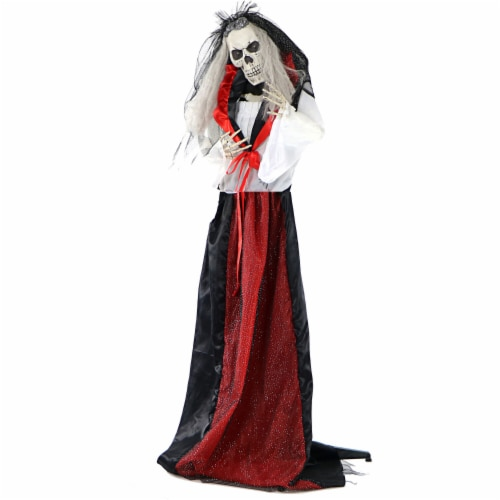 Haunted Hill Farm Moaning Skeleton Bride Prop Perspective: front