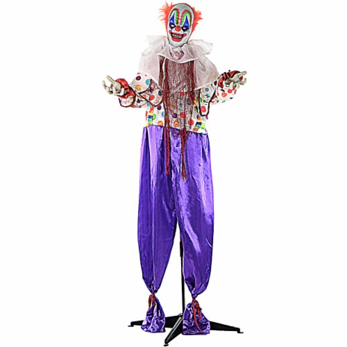 Haunted Hill Farm Animated Scary Talking Clown with Flashing Red Eyes Prop Perspective: front