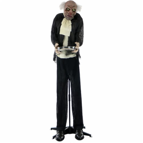 Haunted Hill Farm Animated Moaning Butler with Silver Tray Prop Perspective: front