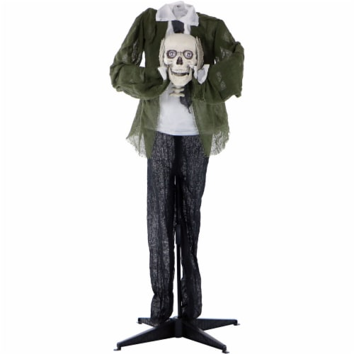 Haunted Hill Farm Animated Headless Man Holding Talking Skull Prop Perspective: front