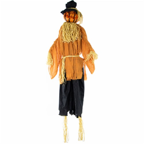Haunted Hill Farm Animated Scarecrow with Rotating Jack-O-Lantern Head Prop Perspective: front