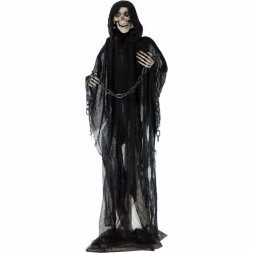 Haunted Hill Farm Animated Grim Reaper with Chain Prop Perspective: front