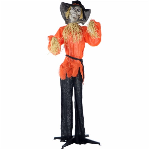 Haunted Hill Farm Animated Skeleton Scarecrow Prop Perspective: front