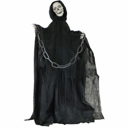 Haunted Hill Farm Animated Talking Skeleton with Chain Prop Perspective: front