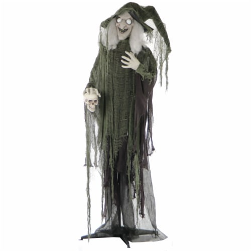 Haunted Hill Farm Talking Witch with Skull Prop Perspective: front