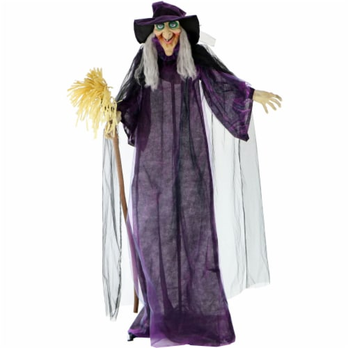 Haunted Hill Farm Talking Witch with Broom Prop Perspective: front