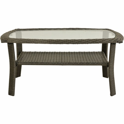 Hanover Newport Glass Top Woven Patio Coffee Table Perspective: front
