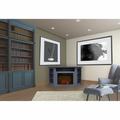 Cambridge CAM5630-1SBL 56 in. Electric Corner Fireplace in Slate Blue with 1500W Fireplace In Perspective: front